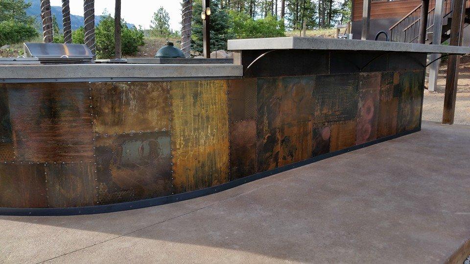 ECC Handpress Concrete Outdoor Kitchen Countertop with Custom Patinaed Steel.jpg