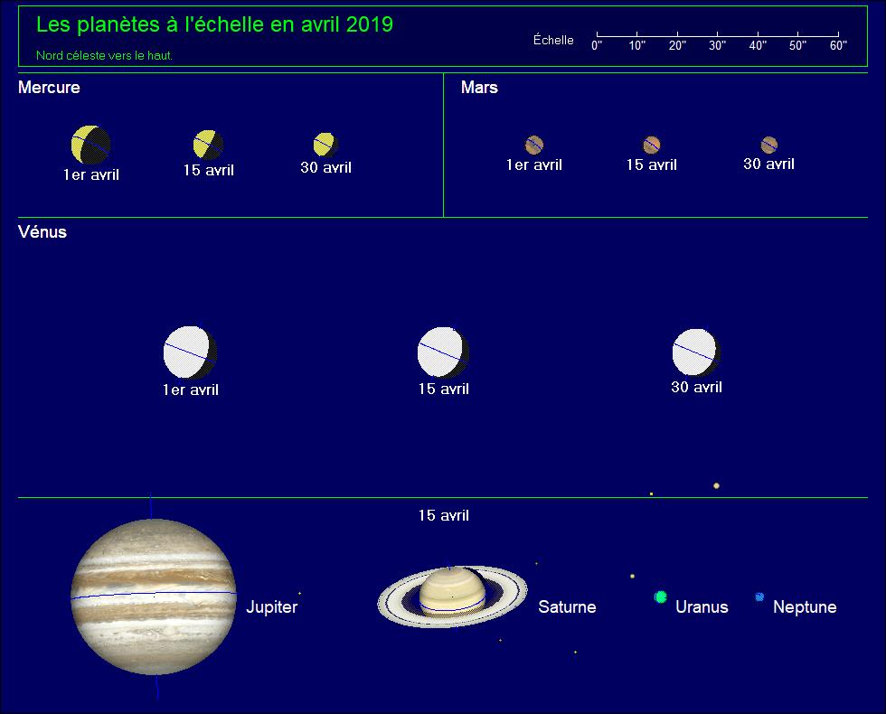 Les planètes à l'échelle pour le mois d'avril 2019