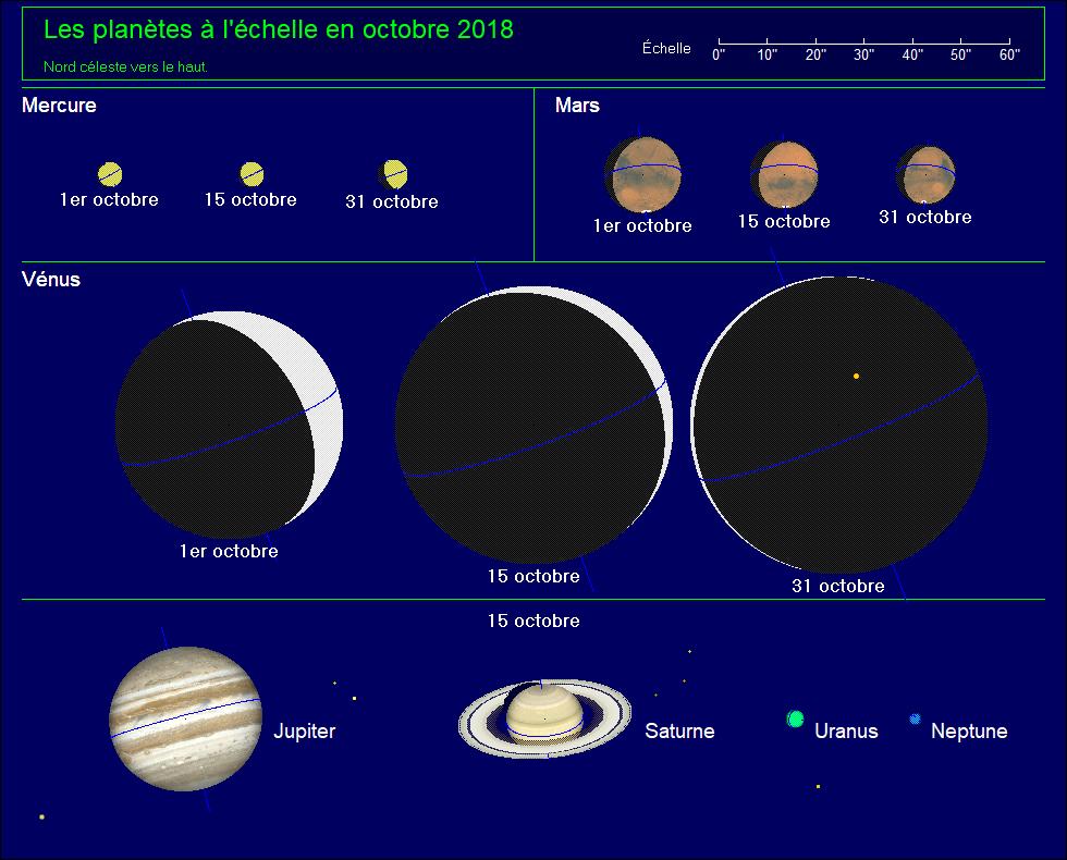 Les planètes à l'échelle pour le mois d'octobre 2018