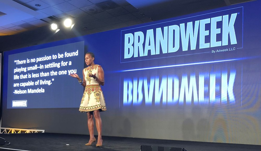 "Jeanine Liburd presenting at Brandweek: ""There is no passion to be found playing small – in settling for a life that is less than one you are capable of living."" - Nelson Mandela"