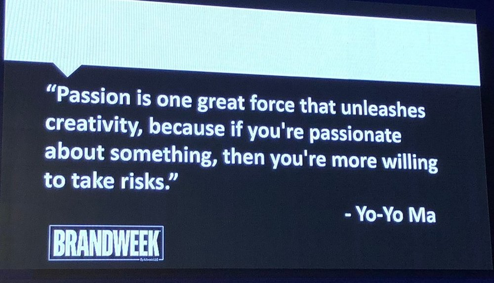 """Jeanine Liburd presenting at Brandweek: """"Passion is one great force that unleashes creativity, because if you're passionate about something, then you're more willing to take risks."""" - Yo-Yo Ma"""