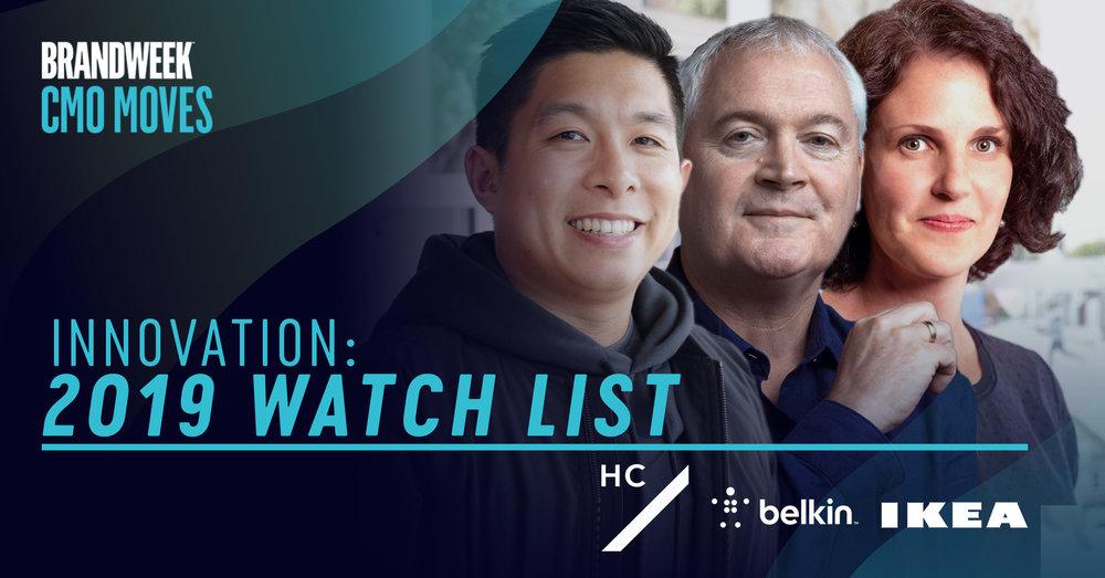 2019 Watch List from CMO Moves Innovators including Eric Toda, Barbara Martin Coppola and Kieran Hannon