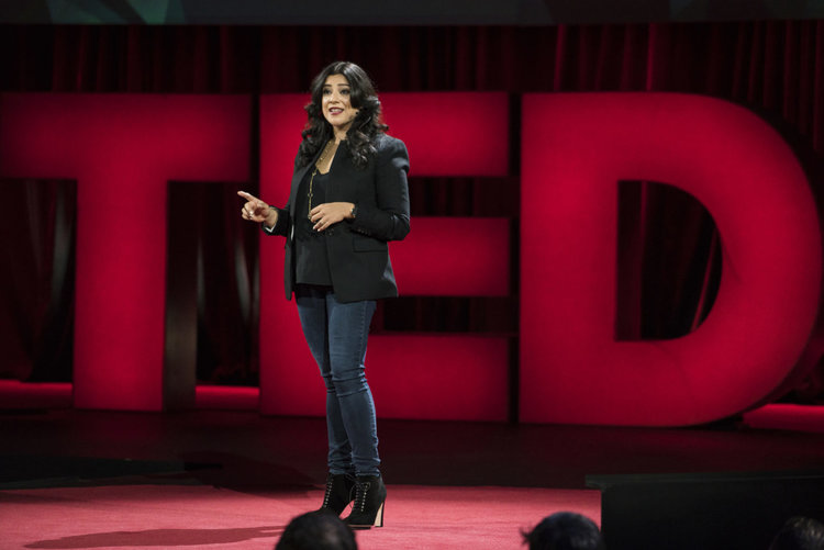 "Reshma delivering a TED talk in 2016, titled ""Teach girls bravery, not perfection."""