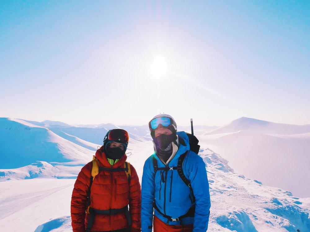 Mathea and her friend Erlend at Trollsteinen, Svalbard.