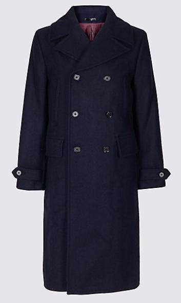 Pure Wool Overcoat  - £249  Photo: www.marksandspencer.com