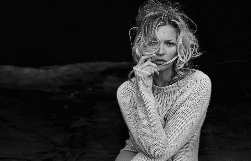 Kate Moss photographed by Peter Lindbergh for a  Naked Cashmere  campaign.