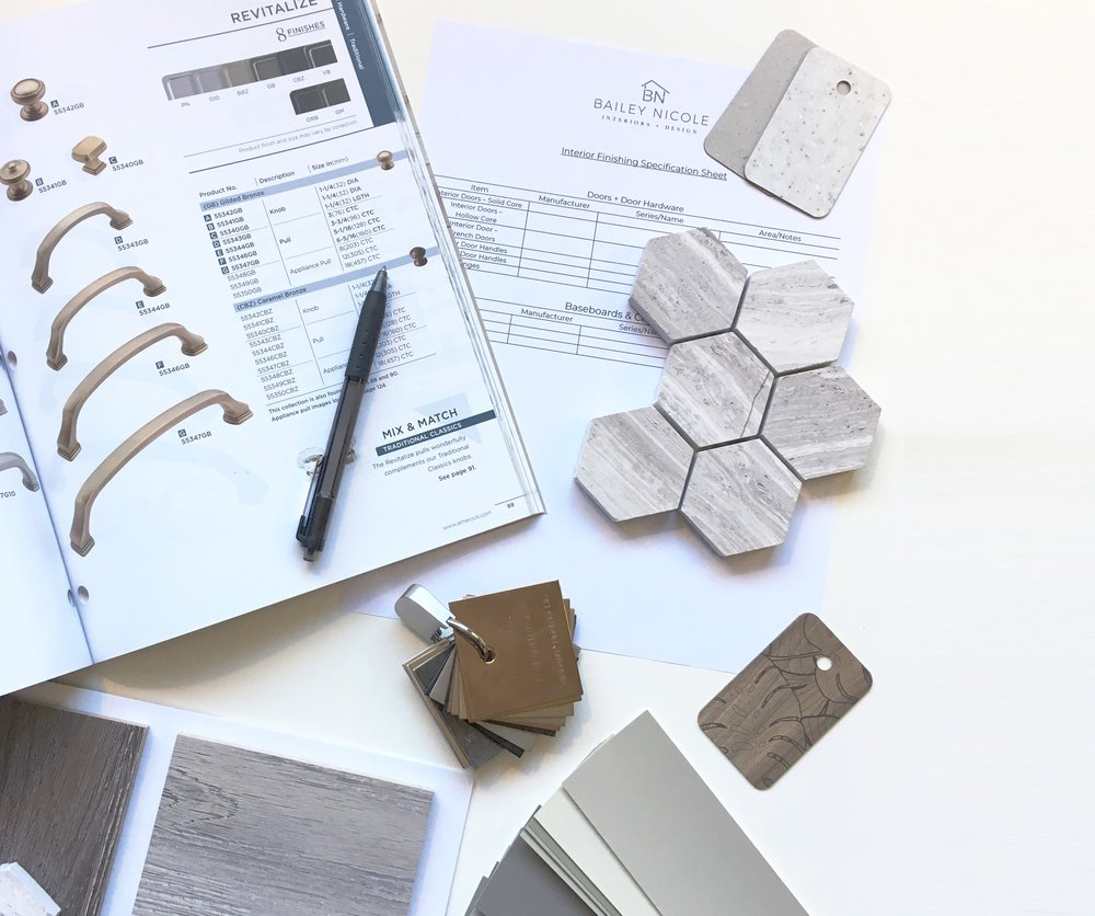 Simple Selection Package - Let us do the work for you! This package will start with an initial 30 min client meeting, where we will discuss your project and determine your preferred creative style. From there we will put together a cohesive design selection package for you, from floor to ceiling + everything in-between! This is a perfect package for a simple tenant improvement of business space, Spec Home build or general renovation. Included is a final review of all selections and mood board with the complete detailed information you will need to put your design into action! $575.00 + GST.