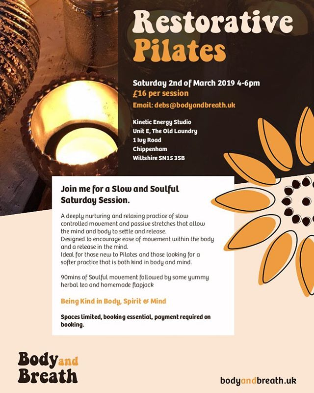 So very excited to be teaching this lovely workshop in Chippenham 🧡 2nd March 1600-1800 DM me to book your place, small group so places are limited 💛 #pilates #restorativepilates #pilateslovers #wellness #soulfulmovement #kineticenergystudio #pilatesteacher #pilateslife #pilatesmat #pilatesinstructor