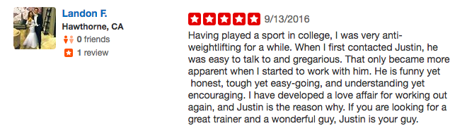 Landon Personal Training Testimonials