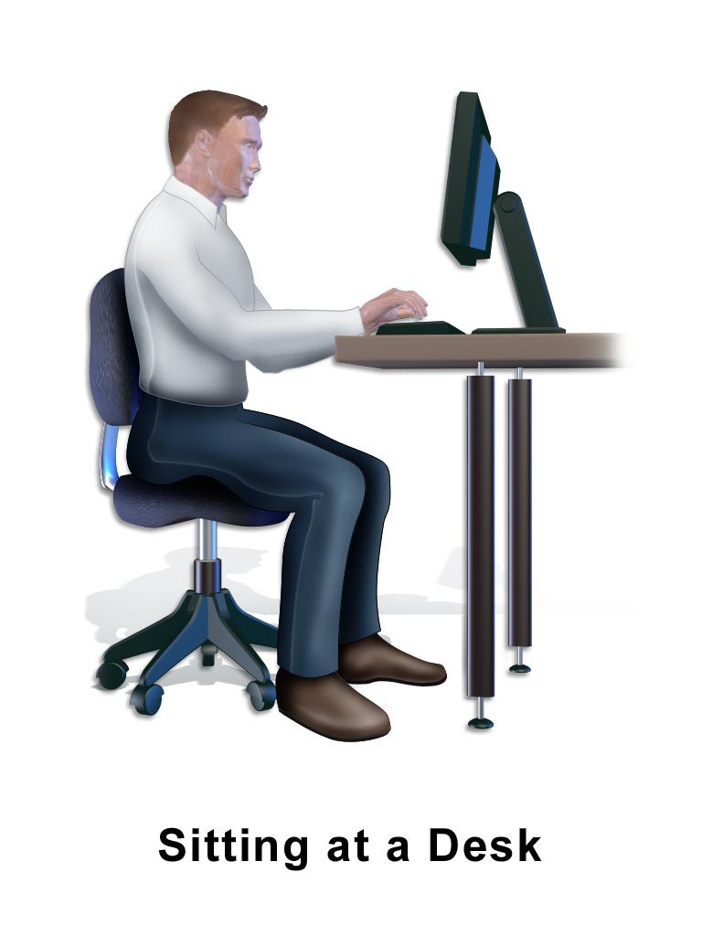 Sitting at desk