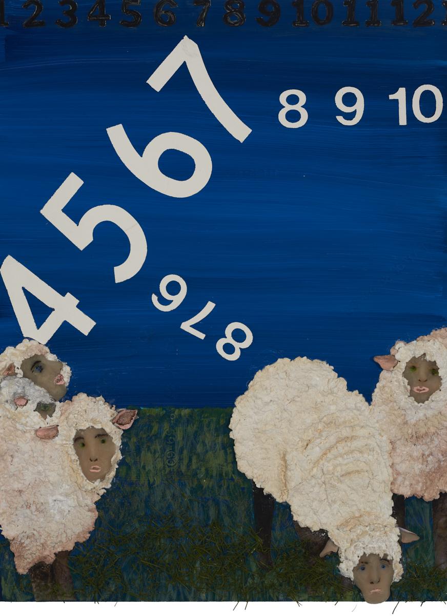 "Counting Sheeple   - mixed media, 12"" x 18"""