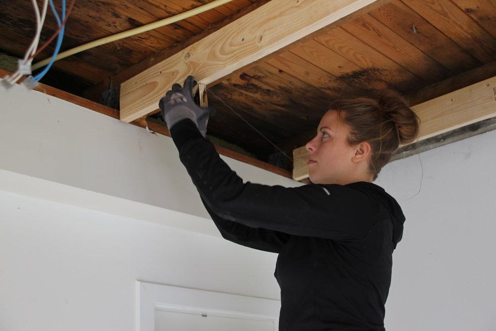 Amalie Maar i gang med at isolere et loft i en villa, der skal have den helt store tur med nye lofter, gulve og nyt køkken.  Foto:    Klaus Sivebæk