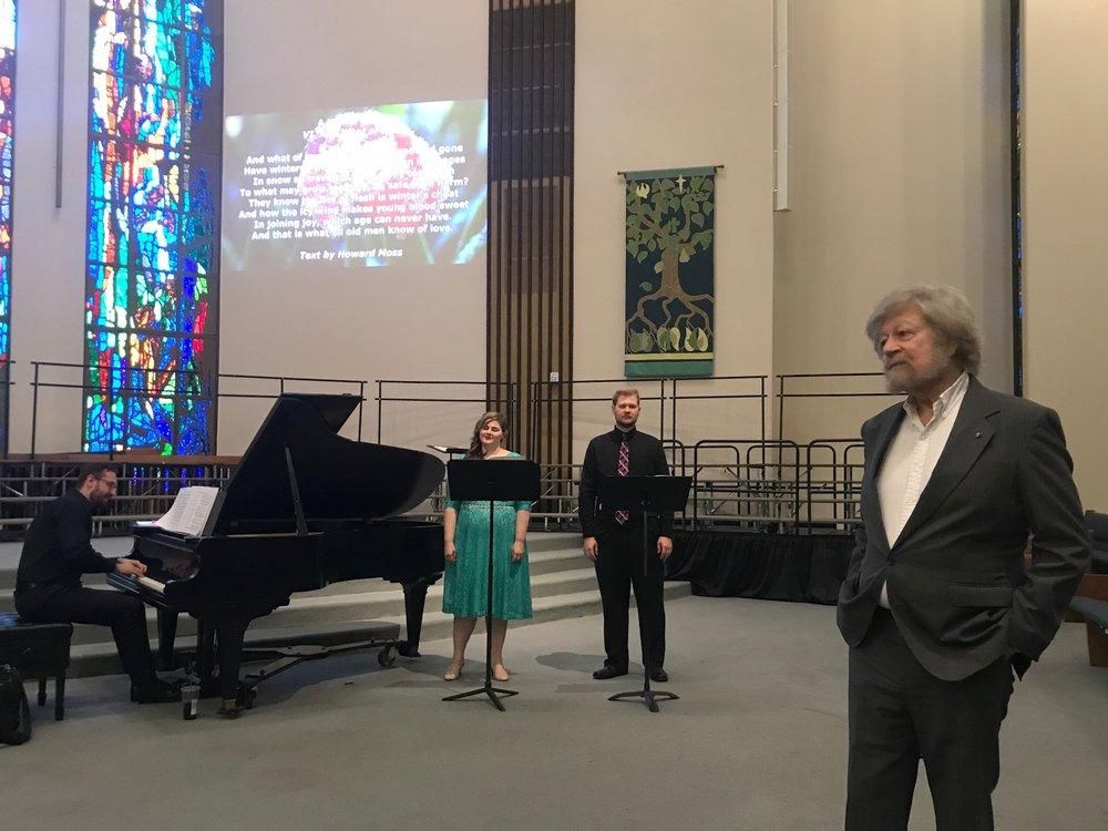 """Katherine Thilakaratne and Stephen Schermitzler sing """"Ya Eres Mîa,"""" as Lauridsen listens in admiration."""