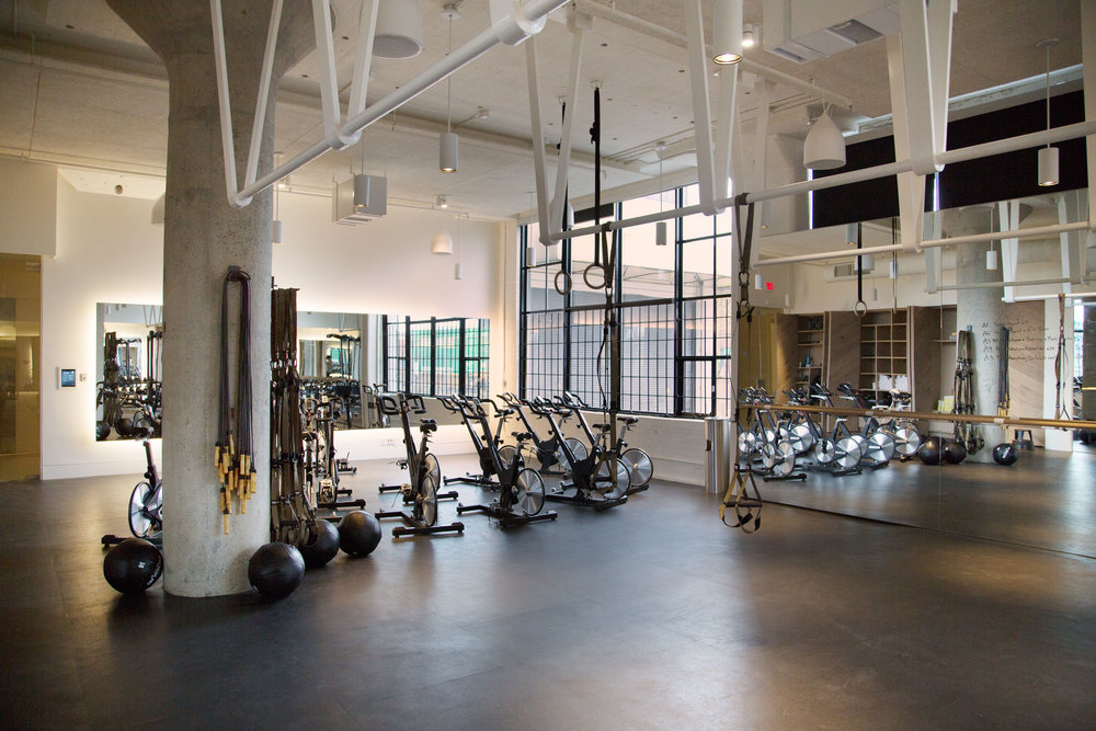 This gym has spaces for yoga classes, spin classes, and weightlifting.