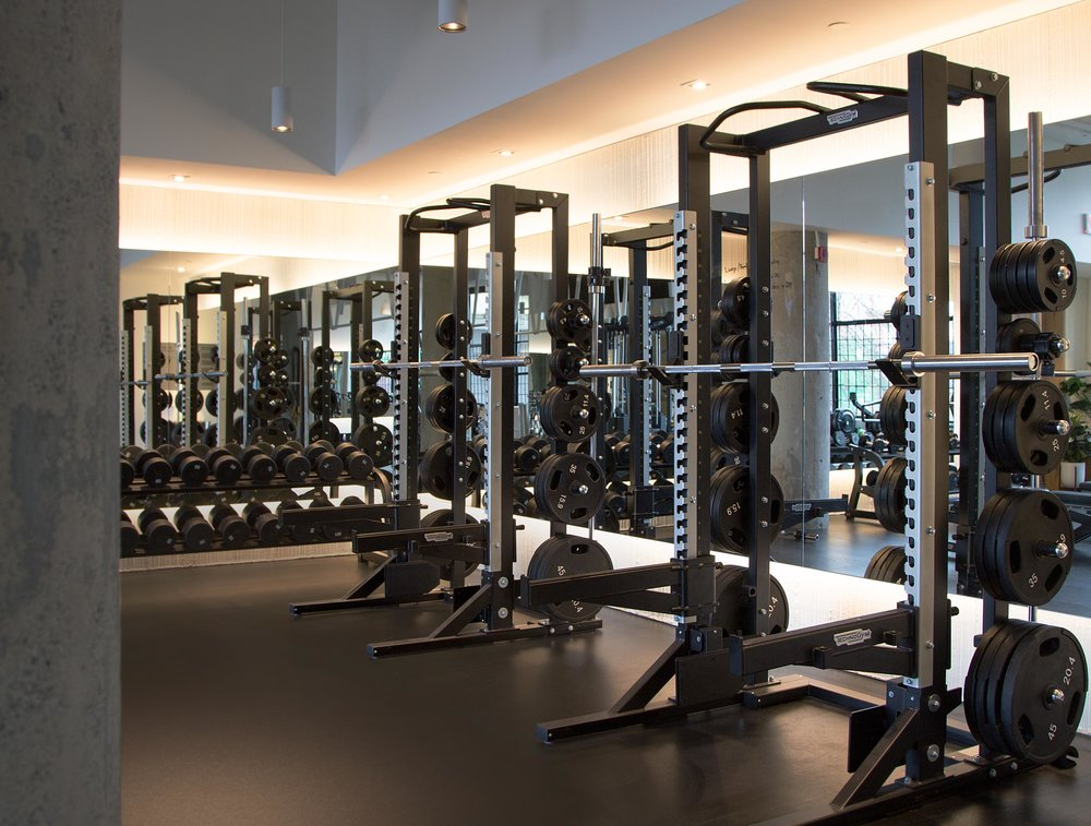 The weightlifting area occupies a sizeable corner of the room, with cove lighting and features on of three audio zones.