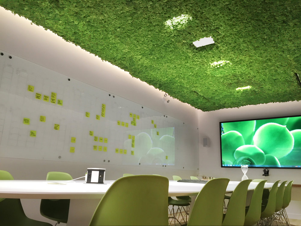 With an incredibly fresh, green tone, the moss installation in this room creates an atmosphere much like a tranquil garden. The acoustic installation hidden behind it enhances the serene acoustics.