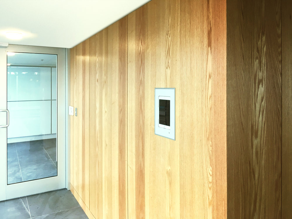 Situated at the main entrance to the space, an iPad allows anyone to setup and control the TV with an extensive channel package, and the audio system with pre-selected stations to choose.