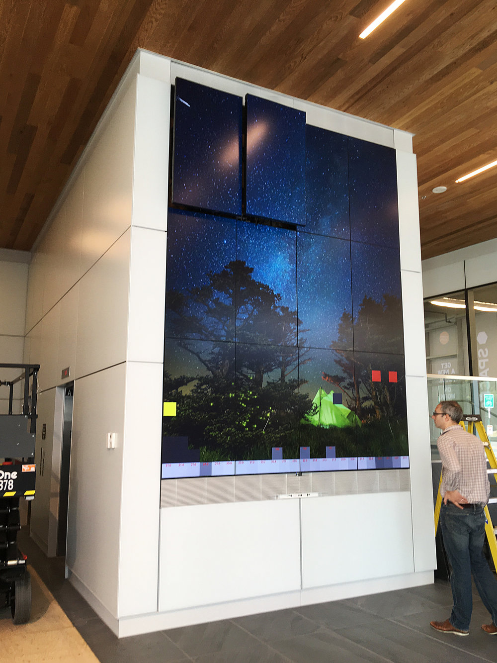 The screens in place, our team worked to configure and train the sensors as needed to pickup the desired area in front of the wall. A test pattern can be seen on screen allowing our staff to see literal feedback from teach sensor.