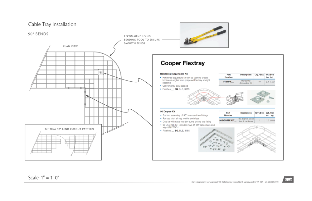 A detail describing specifically how to create 90° turns in the  cable tray.
