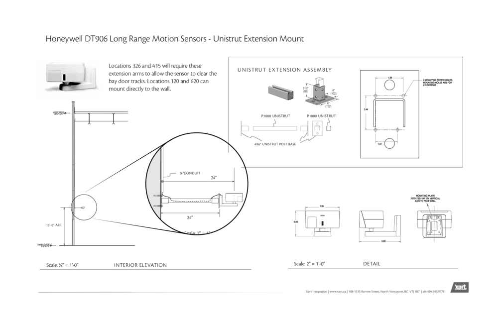 Long range motion sensors were installed per these details, extended from walls with a Unistrut assembly.