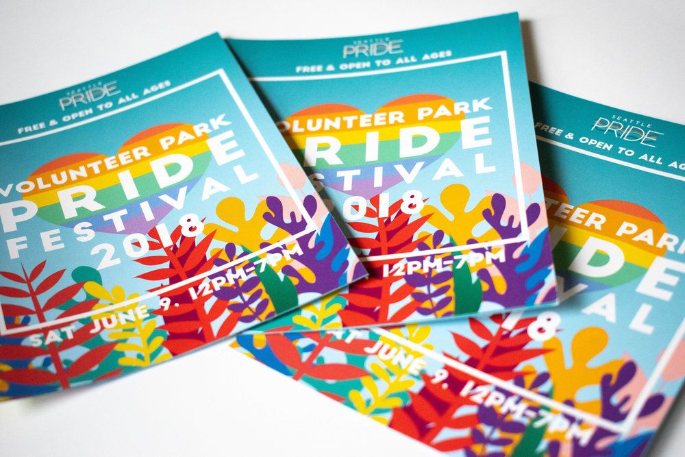 Festival brochure design for Volunteer Park Pride Festival