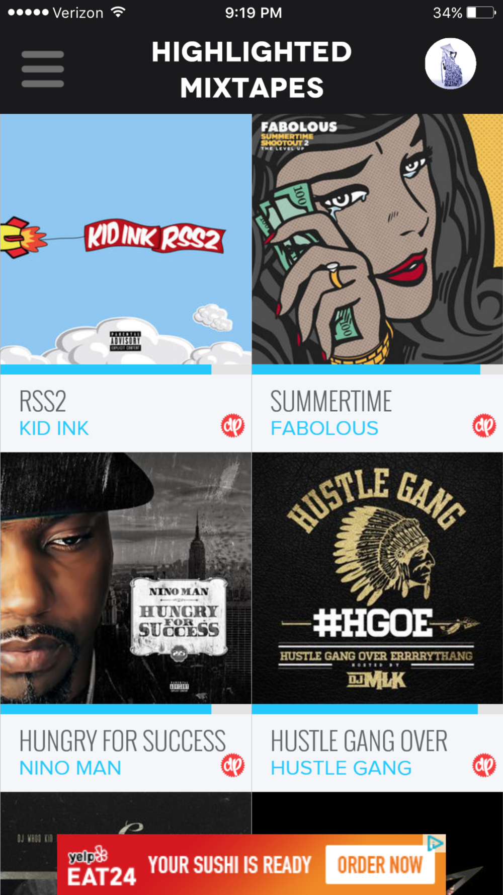 Highlighted mixtapes, or the default page.