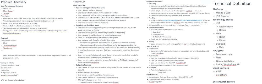 Some screenshots of internal spec docs I put together - we ended up using Flask!