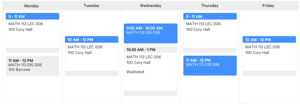 A schedule autogenerated from the classes you're enrolled/waitlisted in, on the same page.