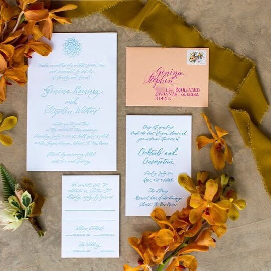 When you're a graphic design wizard like my work wife @genina_ramirez you sort of HAVE to have pretty awesome wedding invitations 😉 Absolutely swooning over the images from her wedding and wishing I was back out west! . . . 📷: @jadeandmatthew | Styling + 🌺: @grayharperflorals . . . #gandstevegowest #lowcountrypaperco #custominvitation (#duh) #lpcowedding #santafewedding #cranelettra #turquoiseinvitation #calligraphy #charlestonstylecalligraphy #lpcocalligraphy #pointedpen #succulentsandtropicals #inspiration #envelopecalligraphy #fuchsiaandpeachismynewfavoritecombo