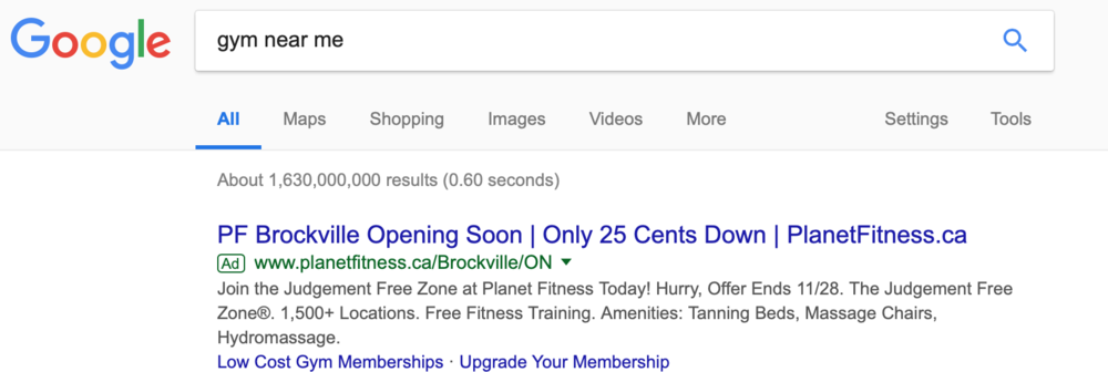 Exhibit 1-1: A Pay Per Click ad (or PPC Advertising)