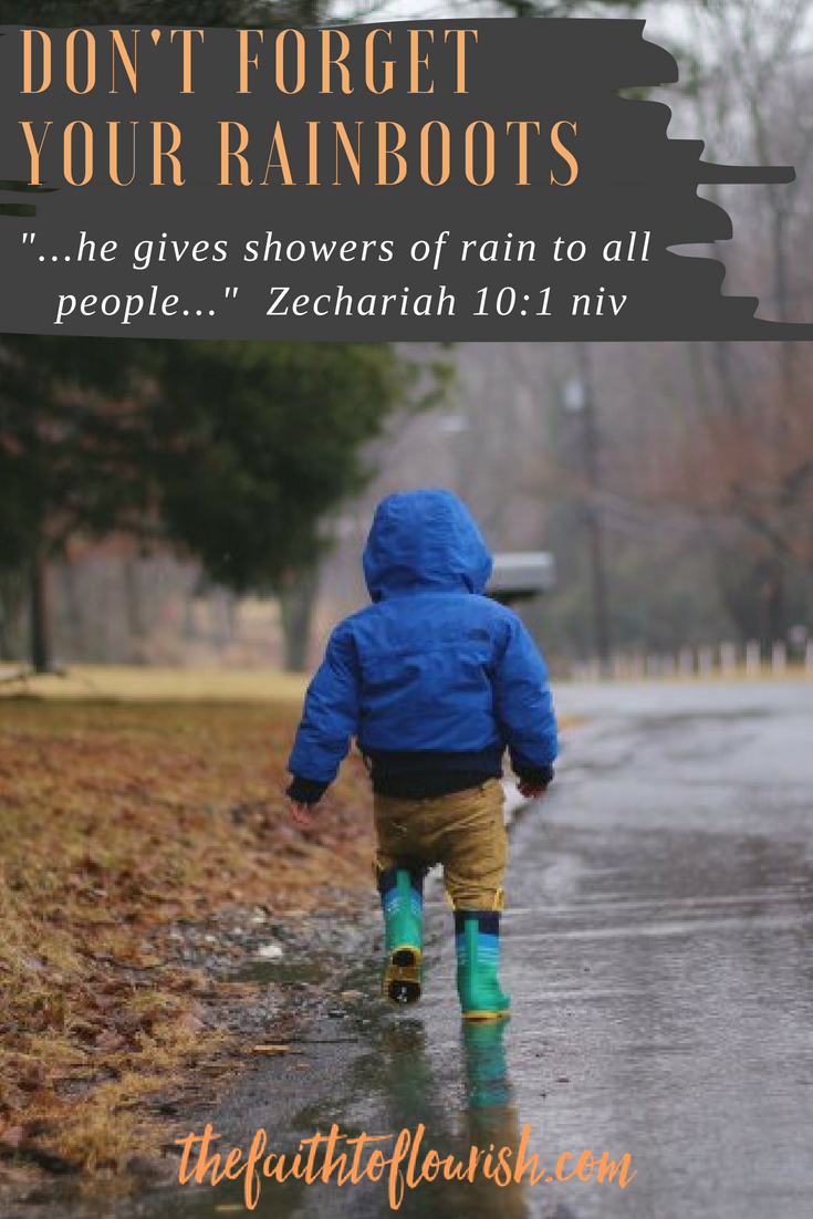 don't forget your rainboots when you are waiting and believing for God to shower his blessings on you and your family. life can bring many disappointments and seasons of drought, but god has blessings coming. as we wait, we pray and believe to see the goodness of god. no matter how bad life is right now, we have a god who is on our side. sickness, addiction, mental illness, marital problems, financial problems, even death, cannot separate us from God's love and plan for us. dawn r. ward, the faith to flourish, shares how to trust in the lord as we wait. click here to read now or pin to read later.