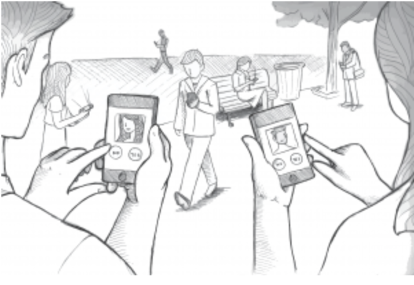 Dating with Phone Apps Illustration