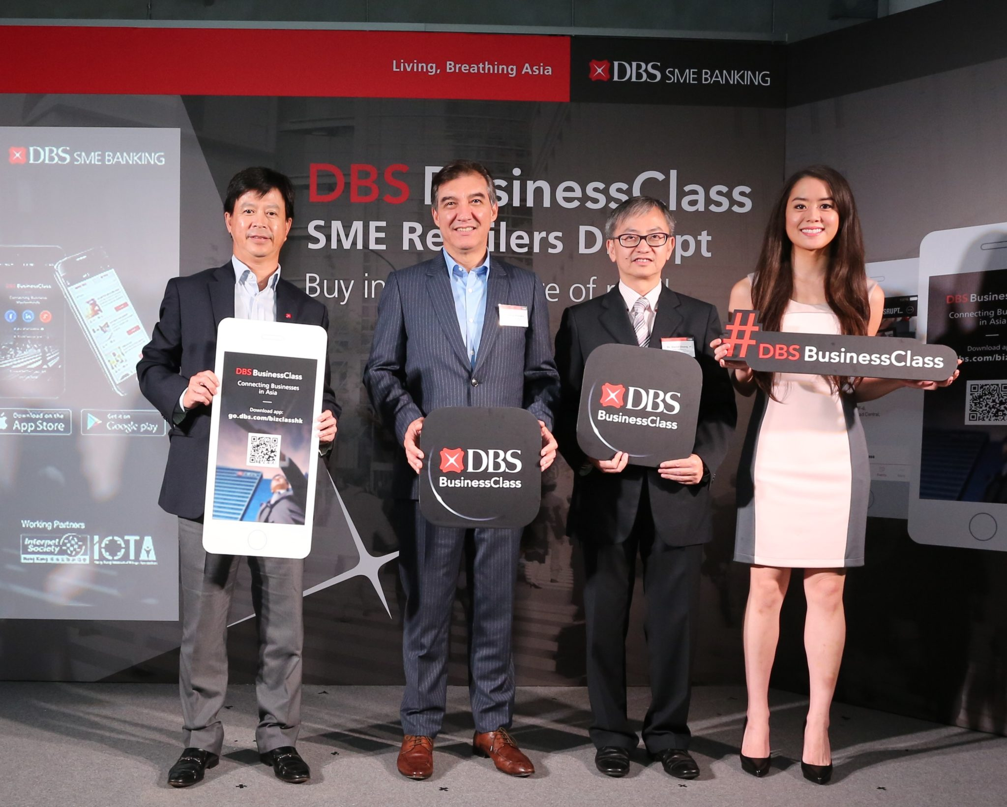 (Left to right) Officiating at the DBS BusinessClass launch in Hong Kong today were Alex Cheung, Managing Director, Head of Institutional Banking Group, Hong Kong, DBS Bank (Hong Kong) Limited, Sebastian Paredes, Chief Executive Officer of DBS Bank (Hong Kong) Limited, the Under Secretary for Innovation and Technology, Dr David Chung, JP, and Ernestine Fu, a Silicon Valley venture capitalist.