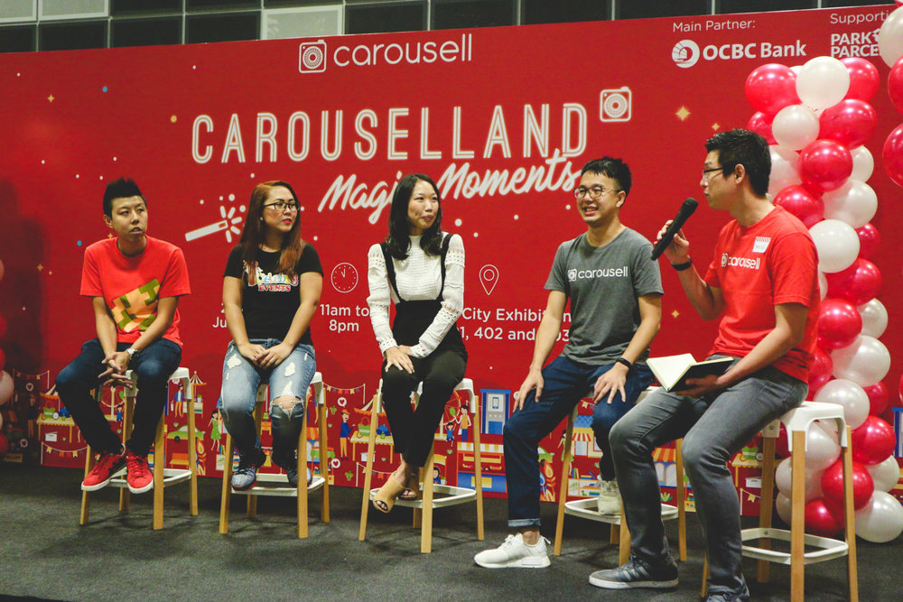 Carousellers-Jerome-Soh-@retrorider-Blanca-@iCelebr8-and-Allison-@BudgetMama-speaking-to-Marcus-Tan-Co-founder-and-President-Carousell-at-Carouselland-1.jpg