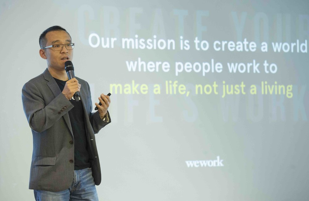 Mr Alan Ai, General Manager, WeWork Greater China, speaking on how the opening of the new WeWork Two Harbour Square collaborative space will strengthen the connections among creators in Hong Kong, the Greater Bay Area and across the globe.