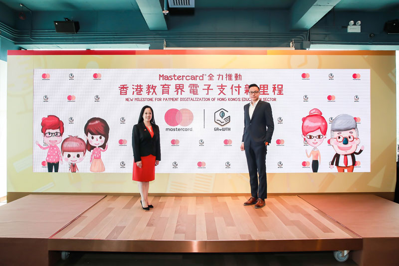Helena Chen (left), managing director, Hong Kong and Macau, Mastercard, and Adam Chan (right), co-founder and CEO, GRWTH, announced the partnership to bring cashless payments to Hong Kong's education sector through the city's first-ever integrated education app with multiple in-app digital payments.
