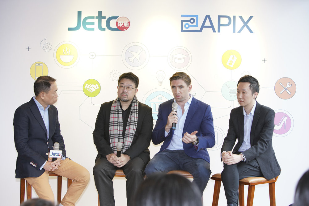 Officiating guests share their views about open API at JETCO's press conference (left to right):  Angus Choi, Chief Executive Officer, JETCO Joe Yau Kwai Hung, Chief Executive Officer, OpenRice Limited Alister Musgrave, Country Manager & Founder,  MoneyHero.com.hk  Sam Ka Yin Li, Managing Director,  Price.com.hk  Limited