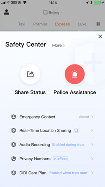 Safety Center in the DiDi App