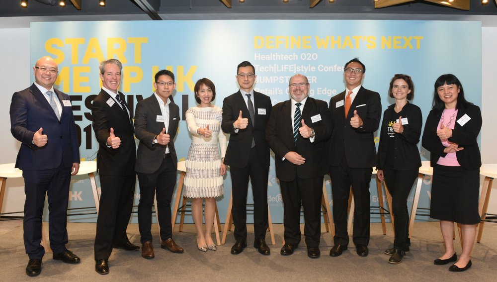 From left to right: Mr. Charles Ng (Associate Director-General of Investment Promotion, InvestHK), Mr. Andrew Work (Managing Director, Head of Asia and Europe, Media Division, NexChange), Mr. Alexander Chan (Co-director, The Mills Fabrica), Ms. Cindy Chow (Executive Director, Alibaba Entrepreneurs Fund), Mr. Jasper Chung (General Manager, Inside Retail Hong Kong), Mr. Anson Bailey (Partner, KPMG China), Mr. Mac Ling (APAC Ambassador, EdTech Asia), Ms. Karena Belin (CEO and Co-founder, WHub) and Ms. Jayne Chan (Head of StartmeupHK, InvestHK) join hands to announce the details of StartmeupHK Festival 2019.