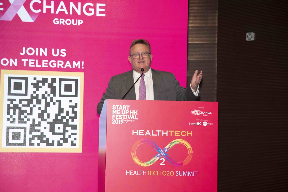 Stephen Phillips, Director-General of Investment Promotion, InvestHK, delivered welcome remarks at Healthtech O2O Summit on 21 January 2019.