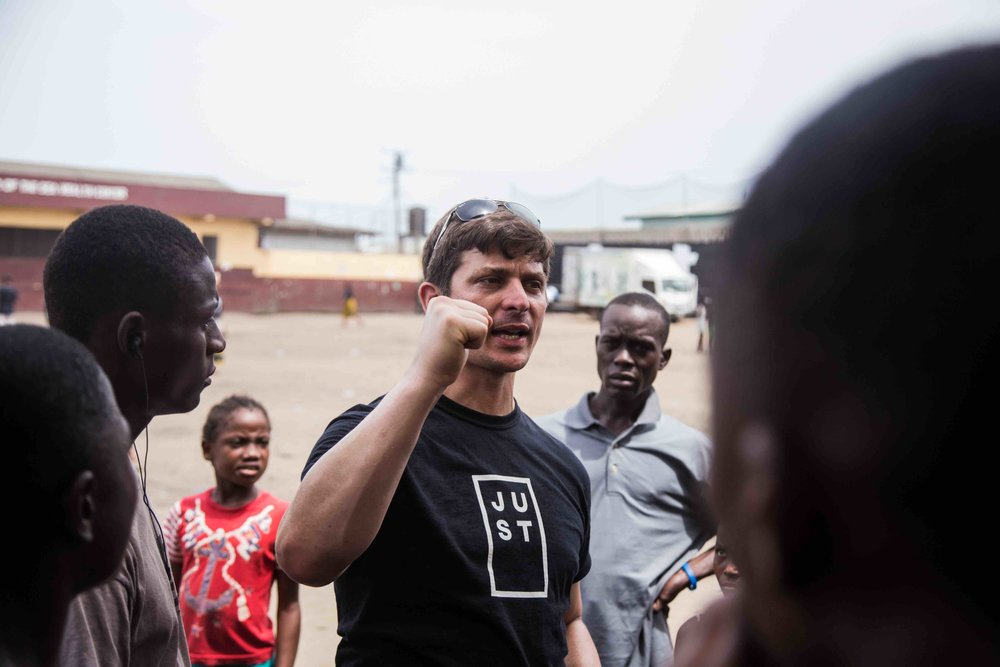 Tetrick speaking about battling malnutrition in Liberia. Photo courtesy of JUST, Inc.