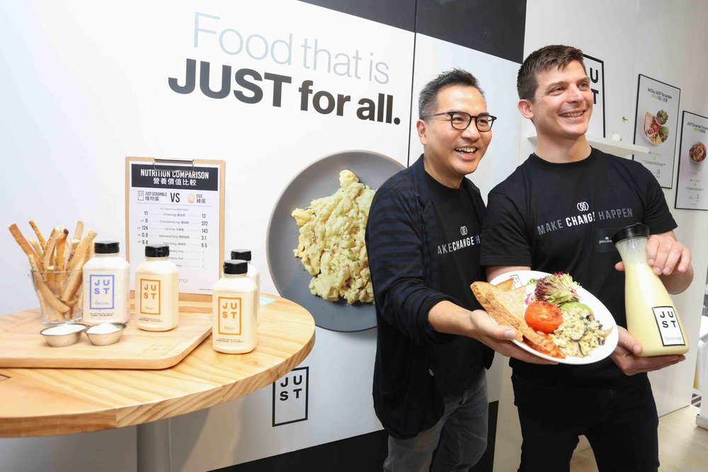 Tetrick at the launch of JUST Scramble at Green Common in Hong Kong with the retailer's Co-founder and CEO David Yeung.
