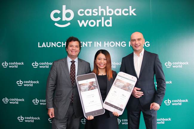 (From left) Mr.Oscar Sousa- Marques,Regional Director of myWorld APAC and Managing Director of myWorld Hong Kong and Macau Limited, Miss Angel Fung,Director of Operational Support at myWorld Hong Kong Limited andMr. Rafal Pieta, Chief Executive Officer of myWorld International Limited, which operates Cashback World takes group photo in the press conference.