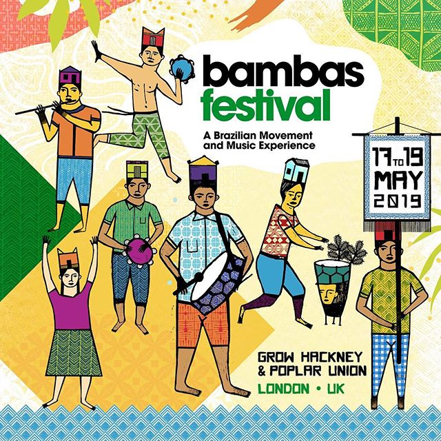 Welcome to @bambasfestival 2019!  Abieié Dance by Irineu Nogueira and @criadacasaproductions invite you to the 2nd edition of this unique Brazilian Movement & Music Festival in London, UK!  We are extremely excited to host a full weekend of workshops by world-class Brazilian masters: Rosangela Silvestre @silvestre1414, Irineu Nogueira @irineunogueira, Ponciano Almeida @poncianinho, Mayara Santos @mayarasants, Alysson Bruno @alysogan, Mac Dendê @macdende, Wagner do Groove @wagnerdogroove and Jon Hardeman @jon.hardeman! . . 17/05 Bambas Festival Launching Party @growhackney // Free Entry // @pedrodlita on the decks and live performance by @dende.nation. . 18 and 19/05 Bambas Festival Dance and Drumming Workshops at @poplarunion //Tickets on sale NOW [link in bio] . Art Illustration by @binarioarmada @alfabetodosamba // @redsonsilva  #bambasfestival #brazilianfestival #festivalsinlondon #london #brasileirosemlondres #samba #maculele #afrobrazilian #orixas #rosangelasilvestre #irineunogueira #mestreponcianinho #poplarunion #growhackney #mayarasantos #sambafitness #sambainlondon