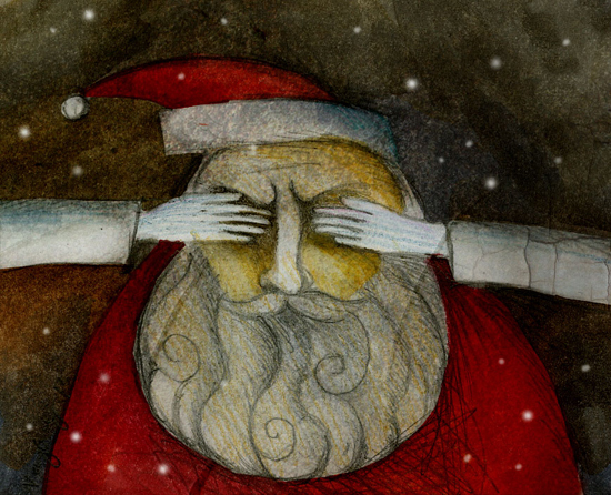 "artwork commissioned for the winning story ""I See You, Santa Claus"" for NYC Midnight"