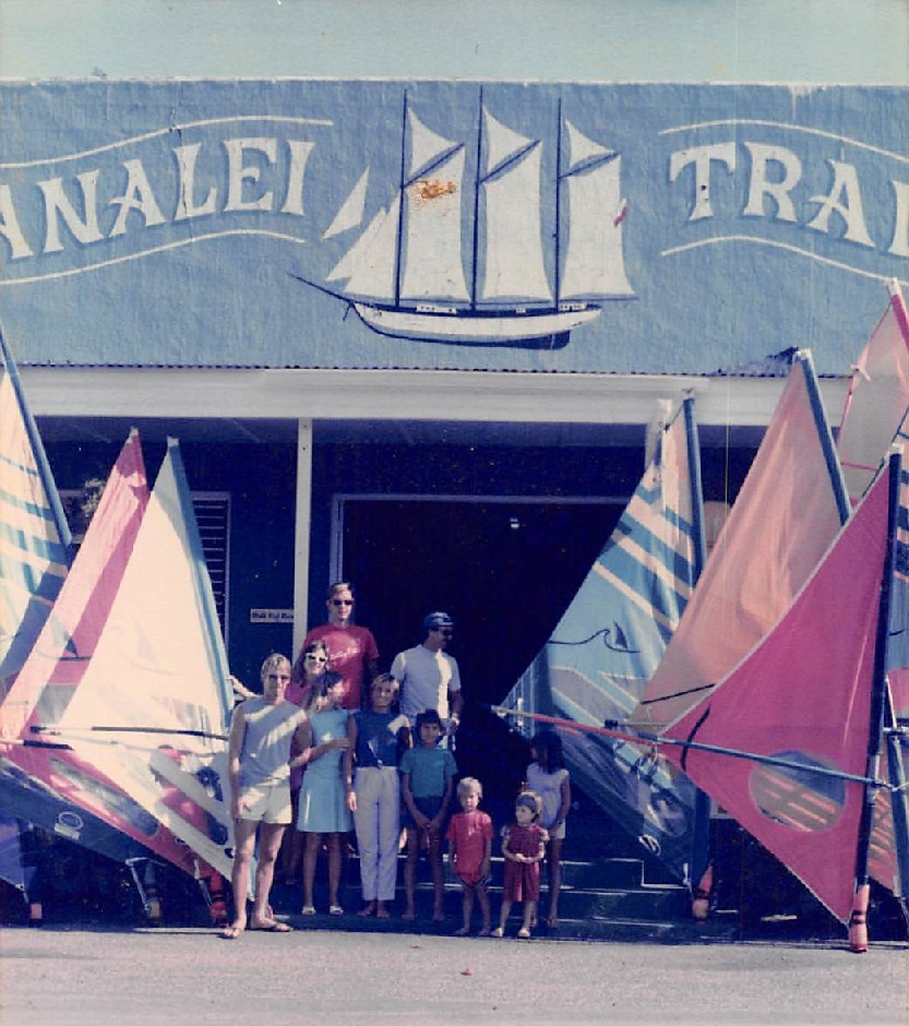 - As the popularity of windsurfing on Kauai grew rapidly so did the number of visitors coming by the store wanting to take windsurfing lessons and rent equipment. I quit my waiter job at Chuck's Steakhouse and expanded to the Hanalei Trader Building where the added space allowed for a windsurfing school and rental business. Once again the name was changed, this time to Hanalei Sailboards. We ended up teaching over 10,000 people to windsurf. It was at this location that I began our monthly Water-sports Swap-meet which has been held faithfully since.Photo: Hanalei Sailboards located in the Hanalei Trader building | Circa 1985
