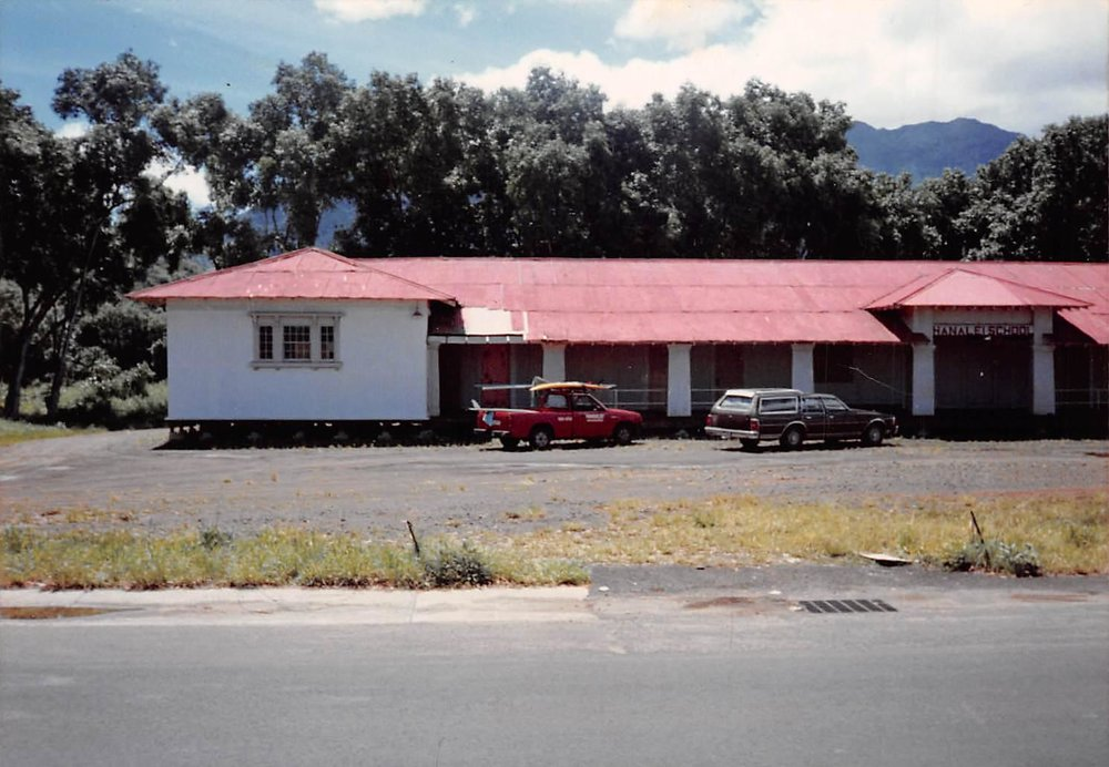 Charlie's 1986 red truck in front of what used to be Hanalei School — Circa 1987