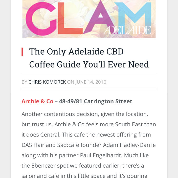 GLAM ADELAIDE  14/06/2016 |   CLICK FOR ARTICLE
