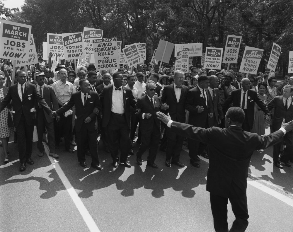 March on Washington, August 28, 1963. Included civil rights and union leaders, Martin Luther King Jr., Joseph L. Rauh Jr., Whitney Young, Roy Wilkins, A. Philip Randolph, Walter Reuther, and Sam Weinblatt. Photo Courtesy of US National Archives