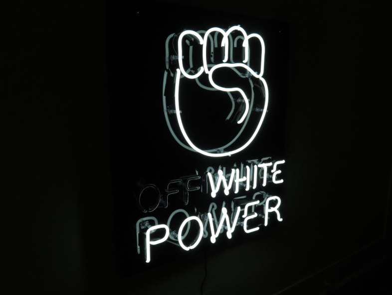 "Mark Anthony Martinez,  (OFF) WHITE POWER , 2017, 40 x 38"", Fabricated by the King of Neon"